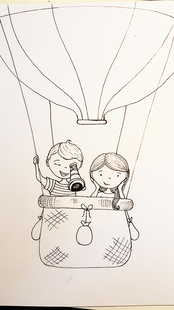 Boceto a lápiz para mural dormitorio bebé