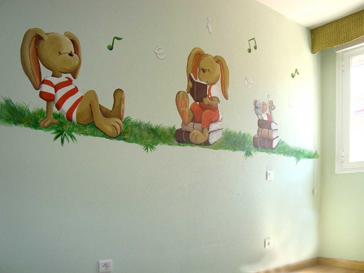 16 Mural Conejitos leyendo