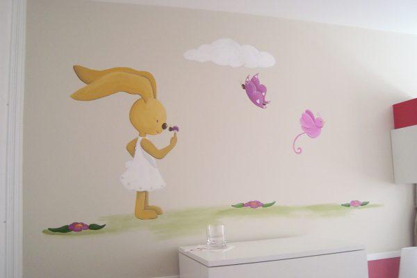 17.1 mural infantil conejita y mariquita murales y cuadros paula minguez