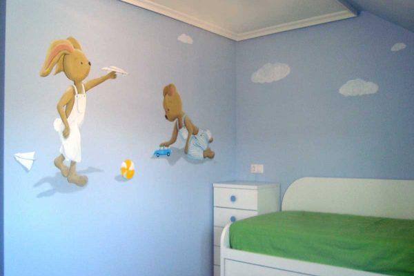 19 Mural osos y conejos jugando