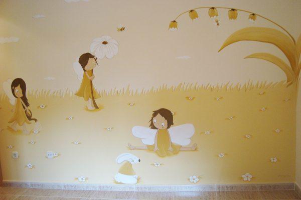 20.c Mural infantil hadas jardineras.