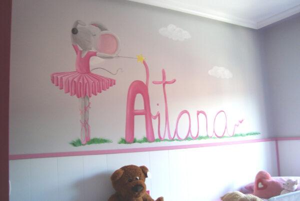 22 mural infantil pintado a mano ratita bailarina y nombre murales y cuadros paula minguez