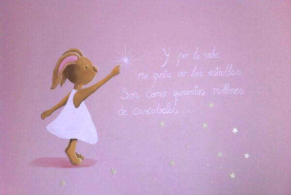 23 mural infantil conejita y estrellas murales y cuadros paula minguez