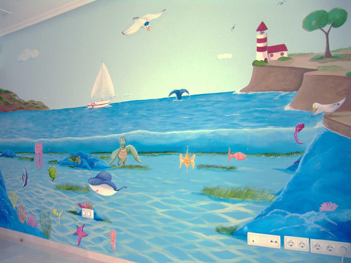 29 Mural fondo marino y acantilado 1