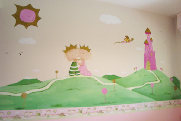 30.mural infantil principe y princesa enamorados murales ycuadros paula minguez