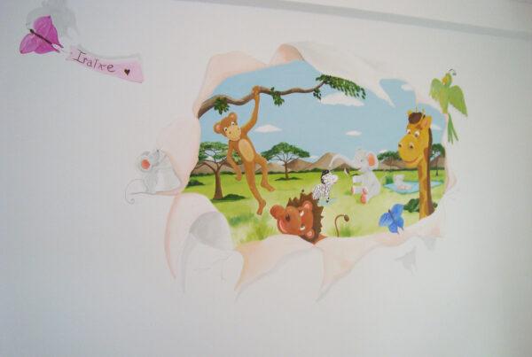 37 Mural infantil efecto pared rota pisaje con animales murales y cuadros paula minguez