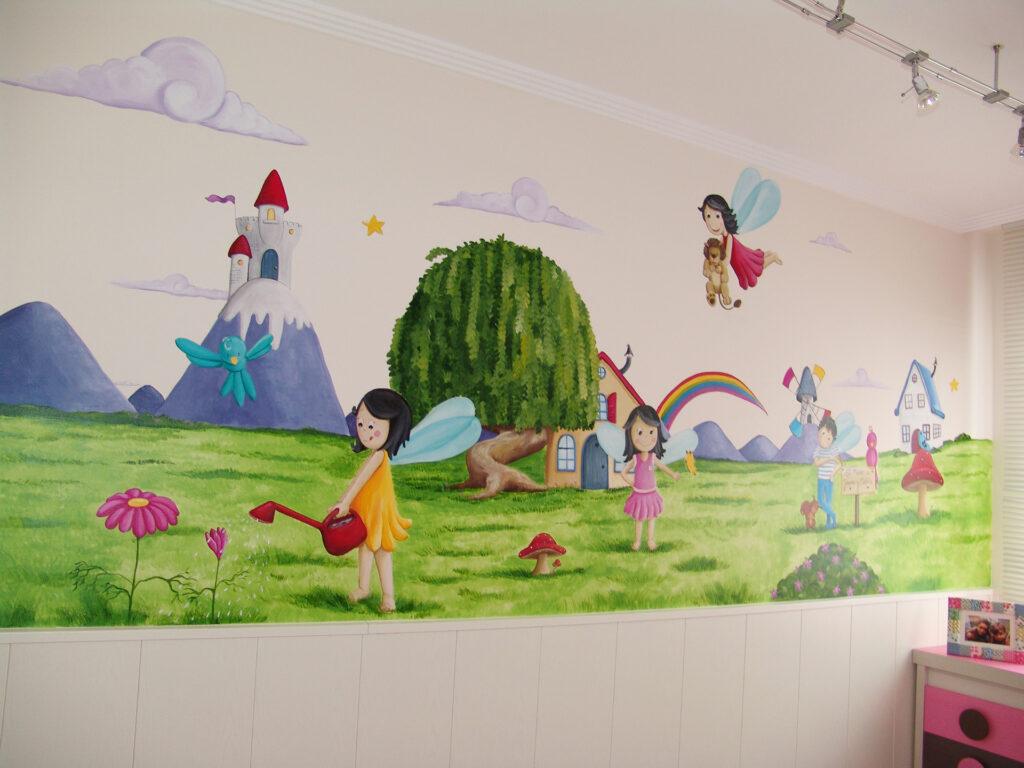 Mural para niñas paisaje con hadas y duendes murales y cuadros paula minguez