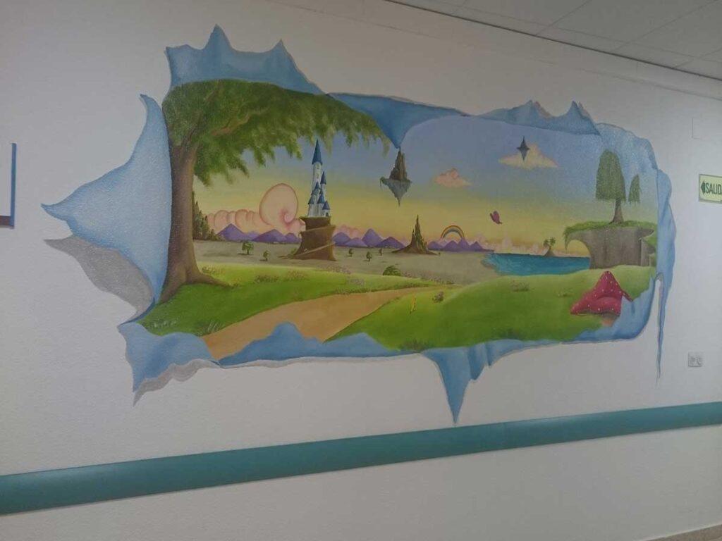 1 mural paisaje Murales decorativos en la planta 7B del Hospital infantil 12 de Octubre de Madrid