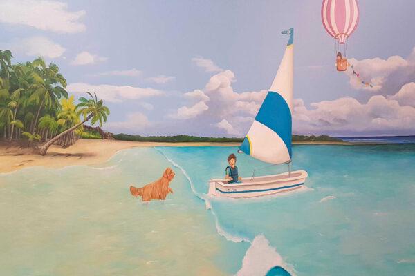 3 Mural nino en su velero en la playa 1