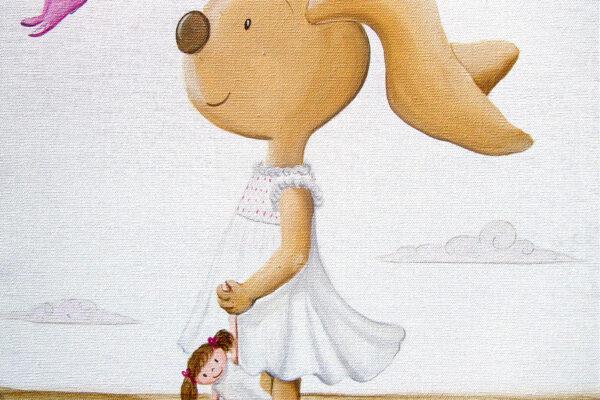 2 Cuadro infantil La conejita y la mariposaPaula Minguez Murales y cuadros