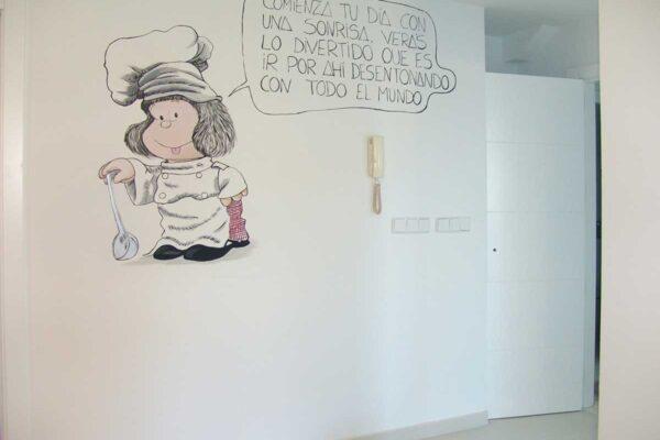 21 Mural de Mafalda pintado en una cocina