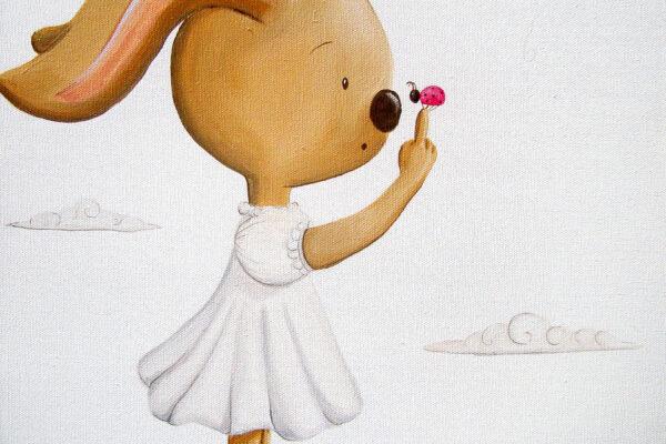 3 cuadro infantil la conejita y la mariquita Paula Minguez Murales y cuadros