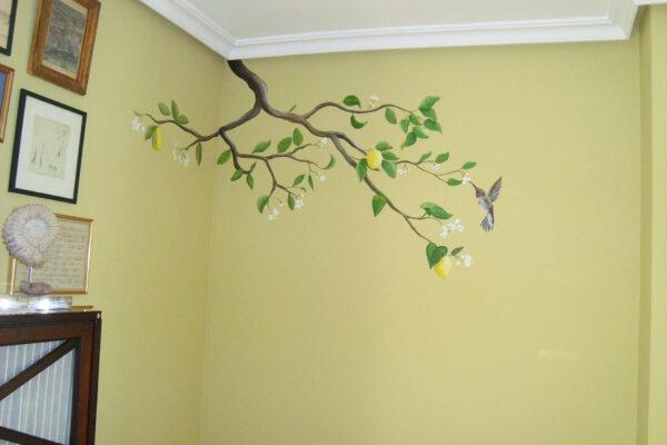 4.1 Mural decorativo limonero y colibri 1 1
