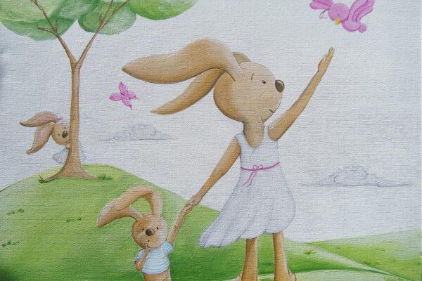 4.2 Cuadro infantil los conejitos jugando Paula Minguez Murales y cuadros
