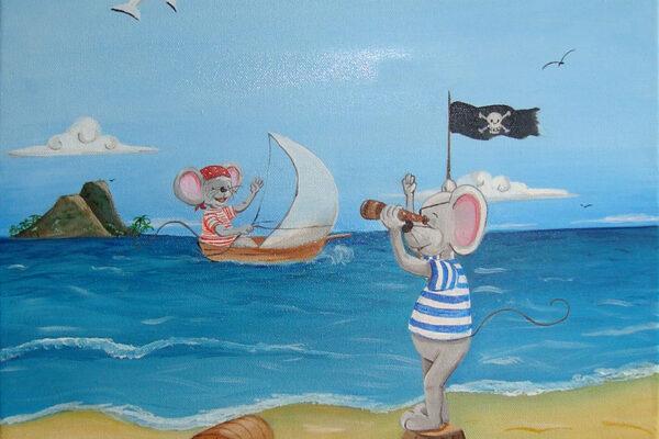 6 Cuadro infantil Los ratones piratas Paula Minguez Murales y cuadros