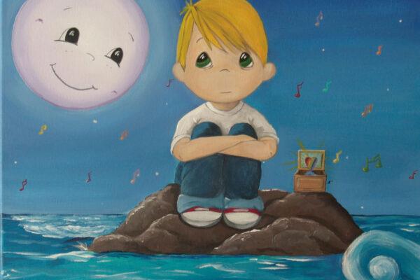 8 Cuadro infantil el nino y la luna Paula Minguez Murales y cuadros 1
