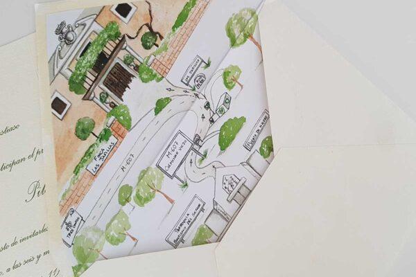 dibujo en acuarela del mapa que indica la situación del restaurante donde se celebra la boda, va pegado justo en el sobre d ela invitación.